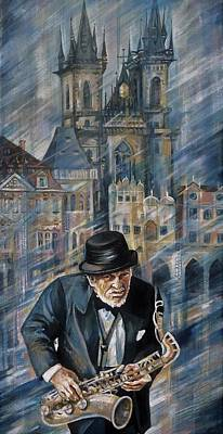 Painting - Blues Of Prague. by Anna Duyunova