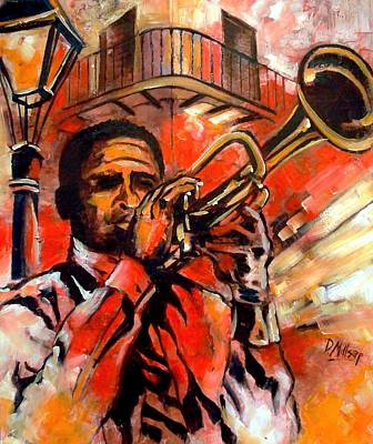 Trumpet Painting - Blues On Bourbon Street by Diane Millsap