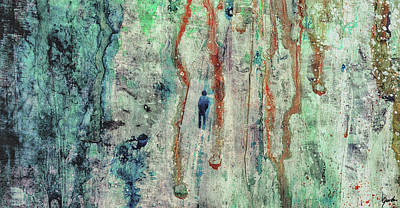 Painting - Standing In The Rain - Large Abstract Urban Style Painting by Modern Art Prints