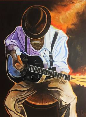 Painting - Blues Player by Stephen King