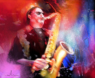 Art Miki Digital Art - Blues Saxophonist by Miki De Goodaboom