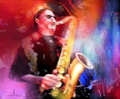 Art Miki Digital Art - Blues Saxophonist by Miki De Goodaboom