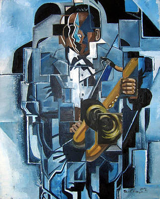 Wall Art - Painting - Blues Trane by Martel Chapman