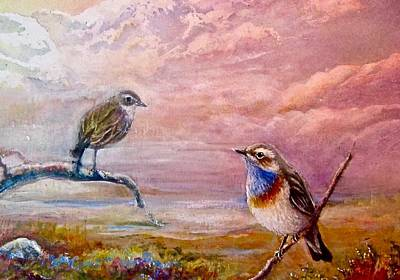 Painting - Bluethroat On The Tundra #2 by Patricia Schneider-Mitchell