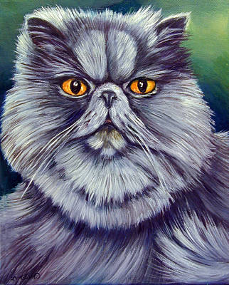 Persian Cat Painting - Bluey Kitty by Lyn Cook