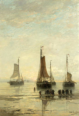 Scheveningen Painting - Bluff-bowed Scheveningen Boats At Anchor by Hendrik Willem Mesdag