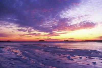Photograph - Bluff Point Winter Sunset by John Burk