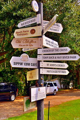 Bluffton Sc Directions Art Print by Lisa Wooten