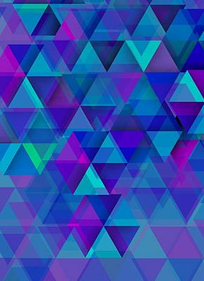 Contemporary Digital Art - Bluish Triangles Over Blue Mist by Alberto RuiZ