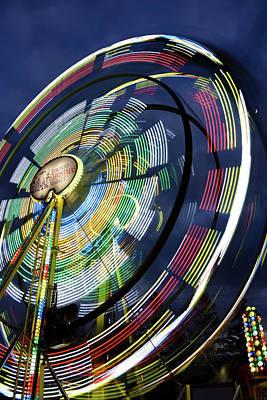 Toronto Photograph - Blurred Lights Of Spinning Ferris Wheel At Toronto Christmas Mar by Reimar Gaertner