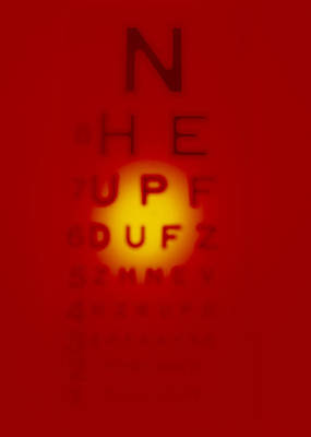Eye Chart Photograph - Blurred View Of A Snellen Eye Test Chart by Tek Image