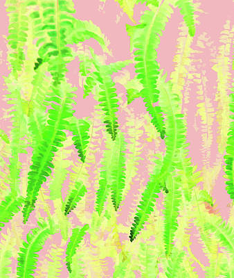 Digital Art - Blush Green Glow by Uma Gokhale
