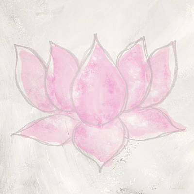Mixed Media - Blush Lotus- Art By Linda Woods by Linda Woods