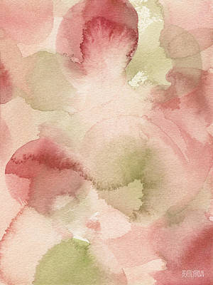 Blush Pink Green Persimmon Art Print by Beverly Brown