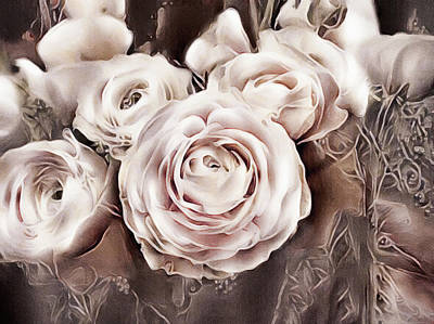 Mixed Media - Blush Pink Ranunculus by Susan Maxwell Schmidt