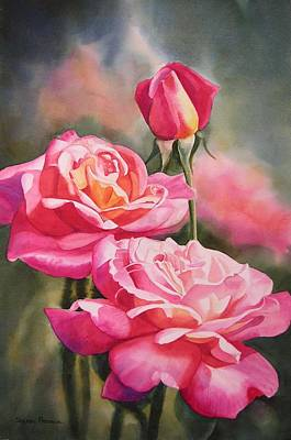 Red Flowers Painting - Blushing Roses With Bud by Sharon Freeman