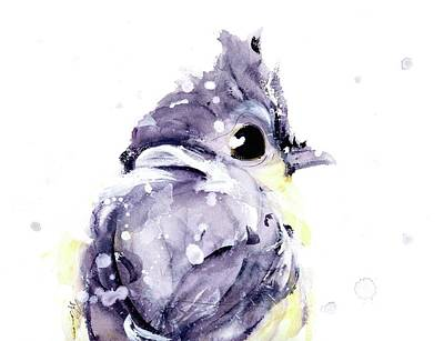 Titmouse Painting - Blustery by Dawn Derman