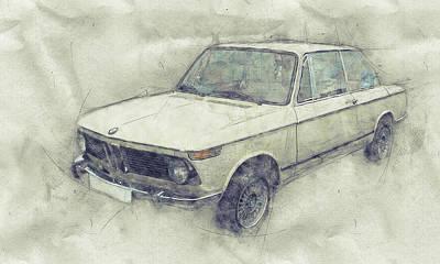 Automotive Art Series Wall Art - Mixed Media - Bmw 02 Series 1 - Ececutive Car - 1966 - Automotive Art - Car Posters by Studio Grafiikka