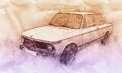 Automotive Art Series Wall Art - Mixed Media - Bmw 02 Series 2 - Ececutive Car - 1966 - Automotive Art - Car Posters by Studio Grafiikka