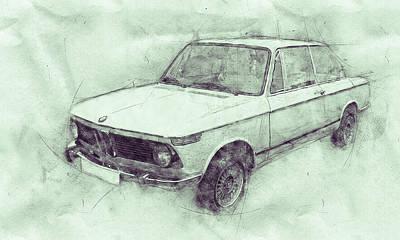 Automotive Art Series Wall Art - Mixed Media - Bmw 02 Series 3 - Ececutive Car - 1966 - Automotive Art - Car Posters by Studio Grafiikka