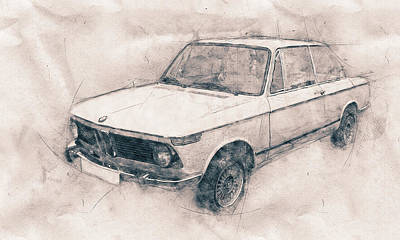Automotive Art Series Mixed Media - Bmw 02 Series - Ececutive Car - 1966 - Automotive Art - Car Posters by Studio Grafiikka