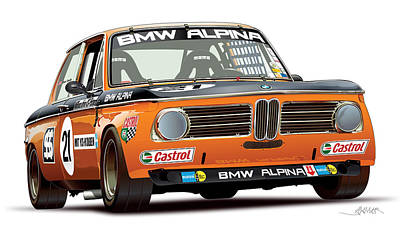 Bmw 2002 Alpina Illustration Original by Alain Jamar