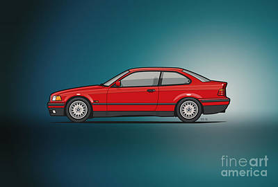 Bmw 3 Series E36 Coupe Red Art Print