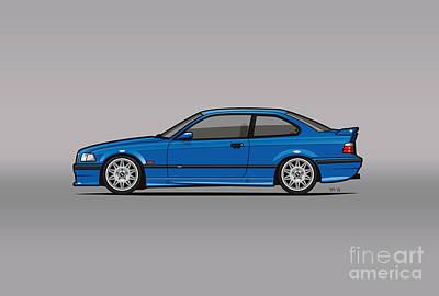 Import Car Digital Art - Bmw 3 Series E36 M3 Coupe Estoril Blue by Monkey Crisis On Mars