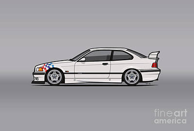 Bmw 3 Series E36 M3 Coupe Lightweight White With Checkered Flag Original by Monkey Chrisis On Mars
