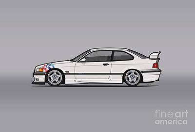 Bmw 3 Series E36 M3 Coupe Lightweight White With Checkered Flag Original