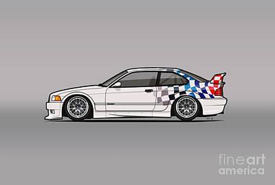 Import Car Digital Art - Bmw 3 Series E36 M3 Gtr Coupe Touring Car by Tom Mayer