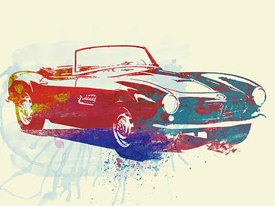 Watercolor Photograph - Bmw 507 by Naxart Studio