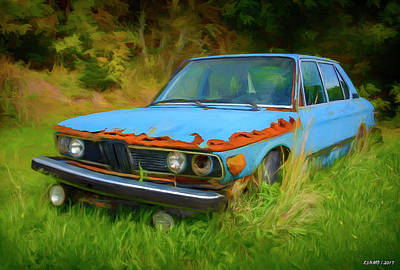 Digital Art - Bmw Abandoned In The Weeds by Ken Morris