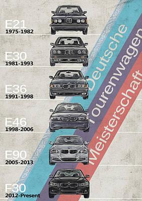 Best Sellers - Transportation Digital Art - BMW - BMW M3 Generations - BMW M3 Timeline by Yurdaer Bes