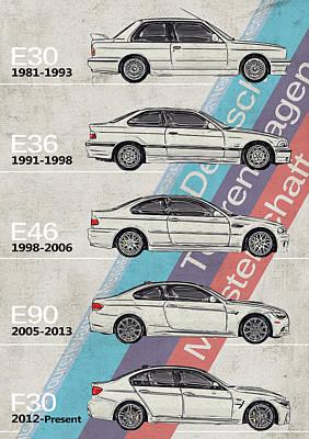 Transportation Digital Art - Bmw - Bmw, M3 Generations - Timeline by Yurdaer Bes