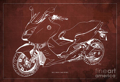 Bike Drawing - Bmw C600 Sport 2013 Blueprint Red And White Art Print by Pablo Franchi