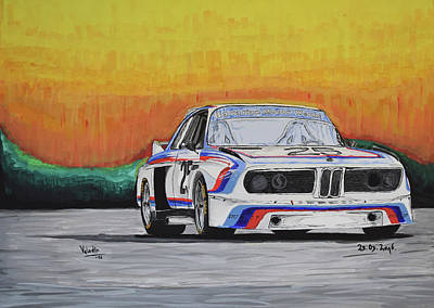 0 Painting - Bmw E9 Race Car by Valentin Domovic