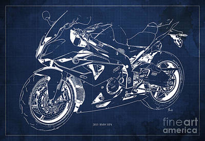 Bike Drawing - Bmw Hp4 2013 Blueprint Motorcycle, White Line, Vintage Background by Pablo Franchi