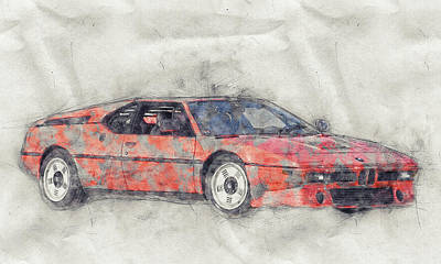 Transportation Royalty-Free and Rights-Managed Images - BMW M1 1- Sports Car Poster - 1978 - Automotive Art - Car Posters by Studio Grafiikka