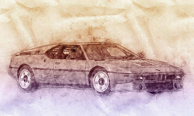Mixed Media Royalty Free Images - BMW M1 2 - Sports Car Poster - 1978 - Automotive Art - Car Posters Royalty-Free Image by Studio Grafiikka