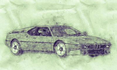 Mixed Media Royalty Free Images - BMW M1 3 - Sports Car Poster - 1978 - Automotive Art - Car Posters Royalty-Free Image by Studio Grafiikka