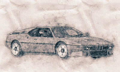 Mixed Media Royalty Free Images - BMW M1 - Sports Car Poster - 1978 - Automotive Art - Car Posters Royalty-Free Image by Studio Grafiikka