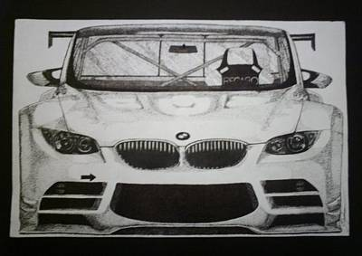 Racecar Drawing - Bmw M3 by S Jackson