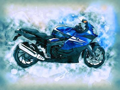 Bmw Motorbike Print by Alan Thompson