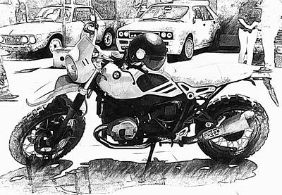 Photograph - Bmw Motorcycle Black And Whtie by Dorothy Berry-Lound