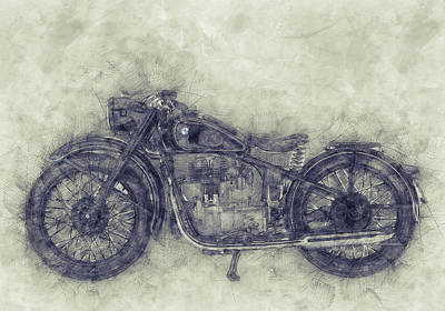 Mixed Media - Bmw R32 - 1919 - Motorcycle Poster 1 - Automotive Art by Studio Grafiikka