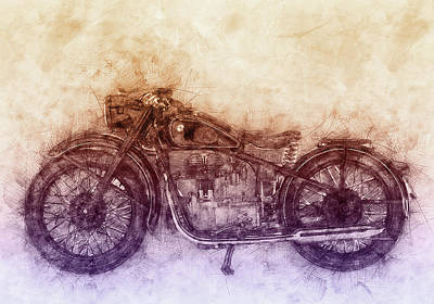 Mixed Media Royalty Free Images - BMW R32 - 1919 - Motorcycle Poster  2 - Automotive Art Royalty-Free Image by Studio Grafiikka