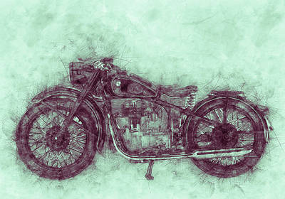 Royalty-Free and Rights-Managed Images - BMW R32 - 1919 - Motorcycle Poster 3 - Automotive Art by Studio Grafiikka
