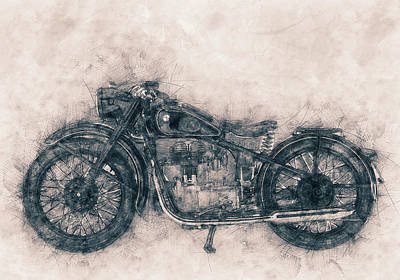 Mixed Media - Bmw R32 - 1919 - Motorcycle Poster - Automotive Art by Studio Grafiikka