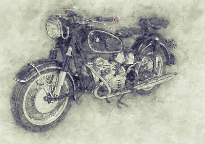 Mixed Media Royalty Free Images - BMW R60/2 - 1956 - BMW Motorcycles 1 - Vintage Motorcycle Poster - Automotive Art Royalty-Free Image by Studio Grafiikka